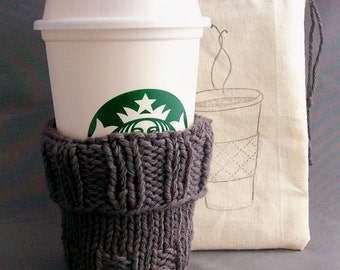 "Grey Coffee Cup Cozy Coffee Cup Sleeve - Hand Knit - BONUS Handmade Drawstring Bag - fits a ""Short"" or ""Grande"" sized Coffee Gift under 20"