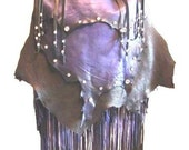 "Artisan Fringe Leather Designer Handbag ""DEEP PURPLE"" Hobo Bag Purple and Black Fringed Deerskin Purse Handmade by Debbie Leather"