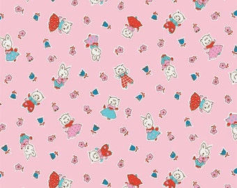 "SALE!! 1/2 yard of the Milk Friends Pink print from the Penny Rose Fabrics ""Milk, Sugar & Flower"" collection by Elea Lutz"