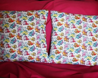 A pair of Fish Pillow Cover- Little Fish Pillow - Under The Sea - Fish Cushion Cover - 16 x 16 Pillow Cover