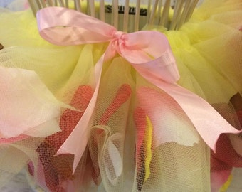 Baby's Pretty baby yellow  Tutu skirt filled with flower petals sizes Newborn to 14mons for infant girls ...............