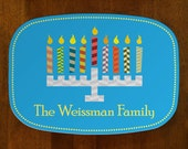Personalized / Custom Melamine Family Name Menorah Latke Latka Platter/Tray/Plate