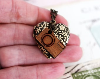 camera heart. locket necklace. brass ox jewelry with wood camera charm and vine locket