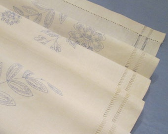 Linen Embroidery Panel DIY - Dresser Scarf/ Table Runner - Embroidery Supply