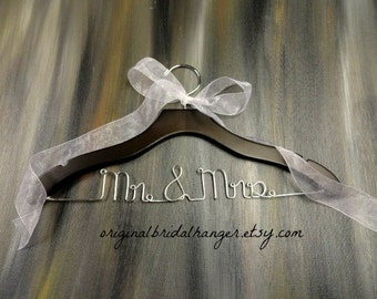 Wedding Wire Hangers - Mr & Mrs Hanger - Bride Dress Hanger - Wedding Photo Props - Unique Shower Gift - Mrs Wedding Hanger - Gift for Bride