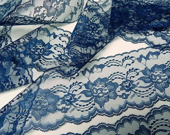 NAVY BLUE Lace 3 yds. - 4 in. wide for DIY Mason Jars - Table Runners - Wedding Decor - Sewing Trim