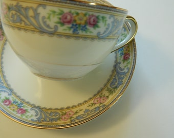 Vintage Tea Cup and Saucer Set, Mix and Match, PiNK and BLuE RoSeS, shabby chic, cottage chic