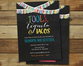 Tools, Tequila and tacos wedding shower invitation, co-ed wedding shower invite, tool shower, stock the bar shower, printable invitation