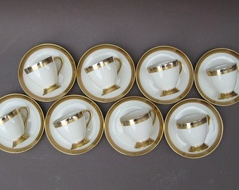 Gorham Demitasse Cup & Saucer Set Royal Contessa Fine China Service for Eight Gold and Platinum Bands Wedding Gift