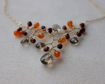 Harvest Branch  Necklace, Garden Collection, Wire wrapped gemstone necklace in gold, Orange carnelian necklace