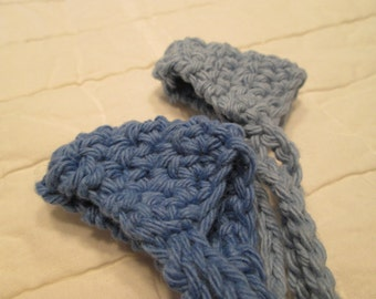 Crocheted Nose Warmers Set of 2 Country Blue and Blueberry