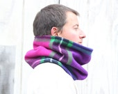 Cowl Scarf Plaid Vermont Wool Purple Magenta Green Black Neckwarmer Black Fleece Lined Warm Cozy Winter Fashion Unisex // by Nicoles Threads