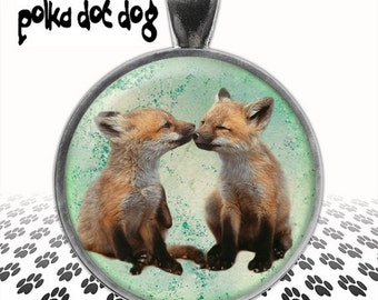 Little Foxes -- Baby Kissing Foxes Large Glass-Covered Pendant
