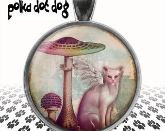 Magical -- Whimsical Cat and Mushroom Large Glass-Covered Pendant