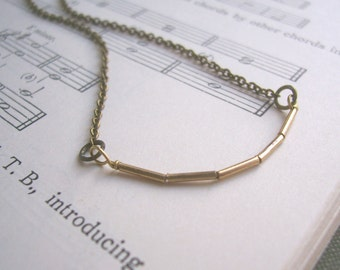 The Minimalist delicate golden bead row necklace on fine chain - modern jewellery - nickel free - SALE