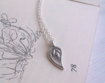 SALE Silver Paisley Leaf charm necklace - delicate charm on fine silver chain - handmade
