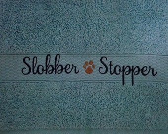 Embroidered Towel - Slobber Stopper - Two Hand Towels - Many Colors