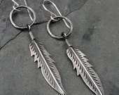 Feather Hoops, Solid Sterling Silver Earrings, Long Dangle Earrings, Hammered Hoops, Woodland, Southwest Southwestern, Wings, Metalsmith