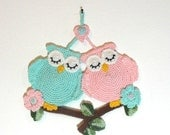 Wall decor crocheted sleeping owls  -  made to order