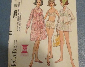 McCall's 1964  Sewing Pattern # 7295 Bathing Suit and Coat Size 14