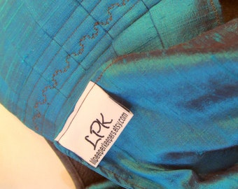 Ring Sling Silk Double Layer Dupioni Baby Carrier - Teal with brown crossthreads - DVD included