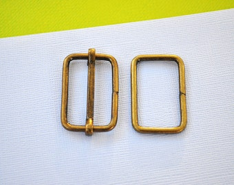FREE SHIPPING--100 sets, 1 1/4 inch Anti Brass Strap Sliders and 1 1/4 inch Anti Brass Rings