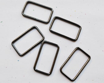 FREE SHIPPING--20 of 1 1/5 inches Non-Welded Gunmetal/Black Nickel Rectangle Rings