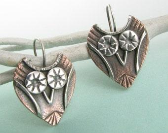 Small Owl Earrings, Talisman Earrings, Copper And Sterling Silver Earrings, Totem Earrings, Copper Earrings, Athena Earrings, Owl Jewelry