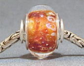 Handmade SRA Lampwork Artisan Big Hole Bead Bracelet Glass Charm Tangerine Dream