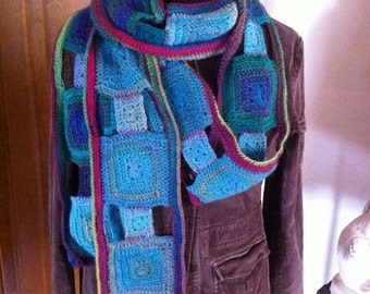 Godseye Scarf in Rainbow Jewel Tones