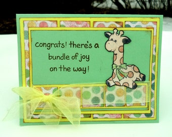 Giraffe Baby Shower Card, Newborn Baby Card, Giraffe Card, Green and Yellow Card,  Congrats, There's a Bundle of Joy on the Way Card
