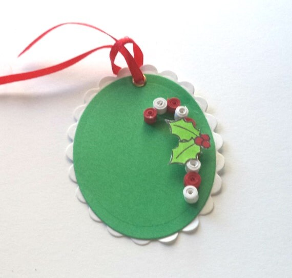 Quilled Candy Canes, Green and White Scalloped Ovals, Holly on Candy Canes, Christmas Gift Tags