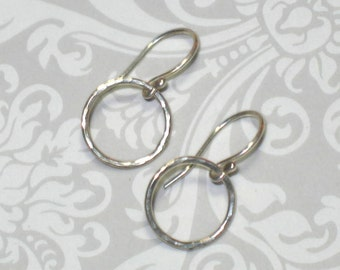 Little Hammered Sterling Silver Circle Tiny Hoop Dangle Earrings