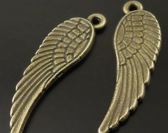 angel WINGS  bird pendant charm (SS12) drop wings jewelry supplies findings   antiqued bronze quantity 10