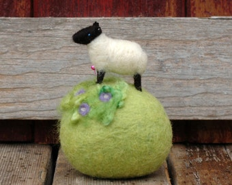 Suffolk Lamb in the Lavender Flowers - Mini Sheep on a Meadow Needle Felted Pincushion