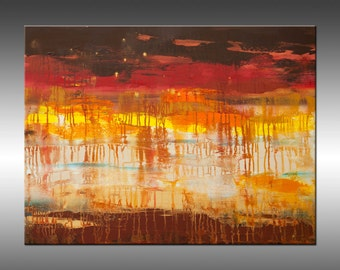 Lithosphere 107 - Original Abstract Painting, Large Canvas Art, Modern Art Painting, Decor, Red Orange Yellow Brown White Texture