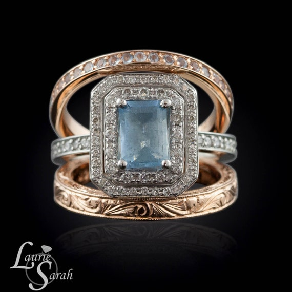 Wedding Ring Set With Platinum Aquamarine Engagement Ring And