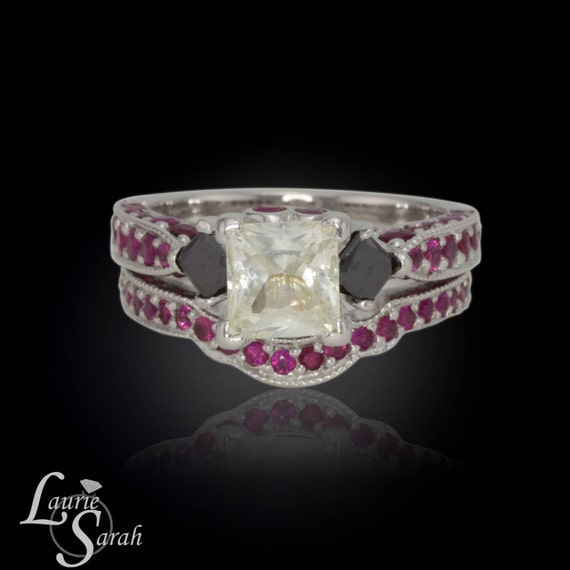 White Sapphire Engagement Ring, Princess Cut White Sapphire Ring with Black Diamonds and Pink Sapphires, Matching Wedding Band - LS1827