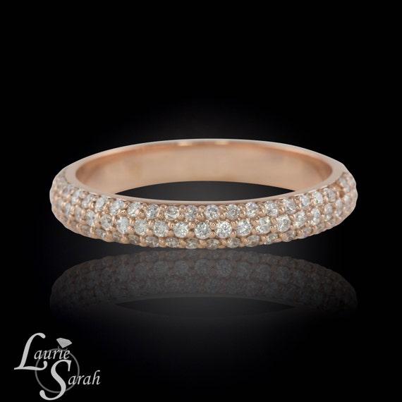 Micro Pave Diamond Wedding Ring Rose Gold By LaurieSarahDesigns