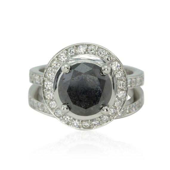 Black Diamond Ring 3 Carat Round Black by LaurieSarahDesigns
