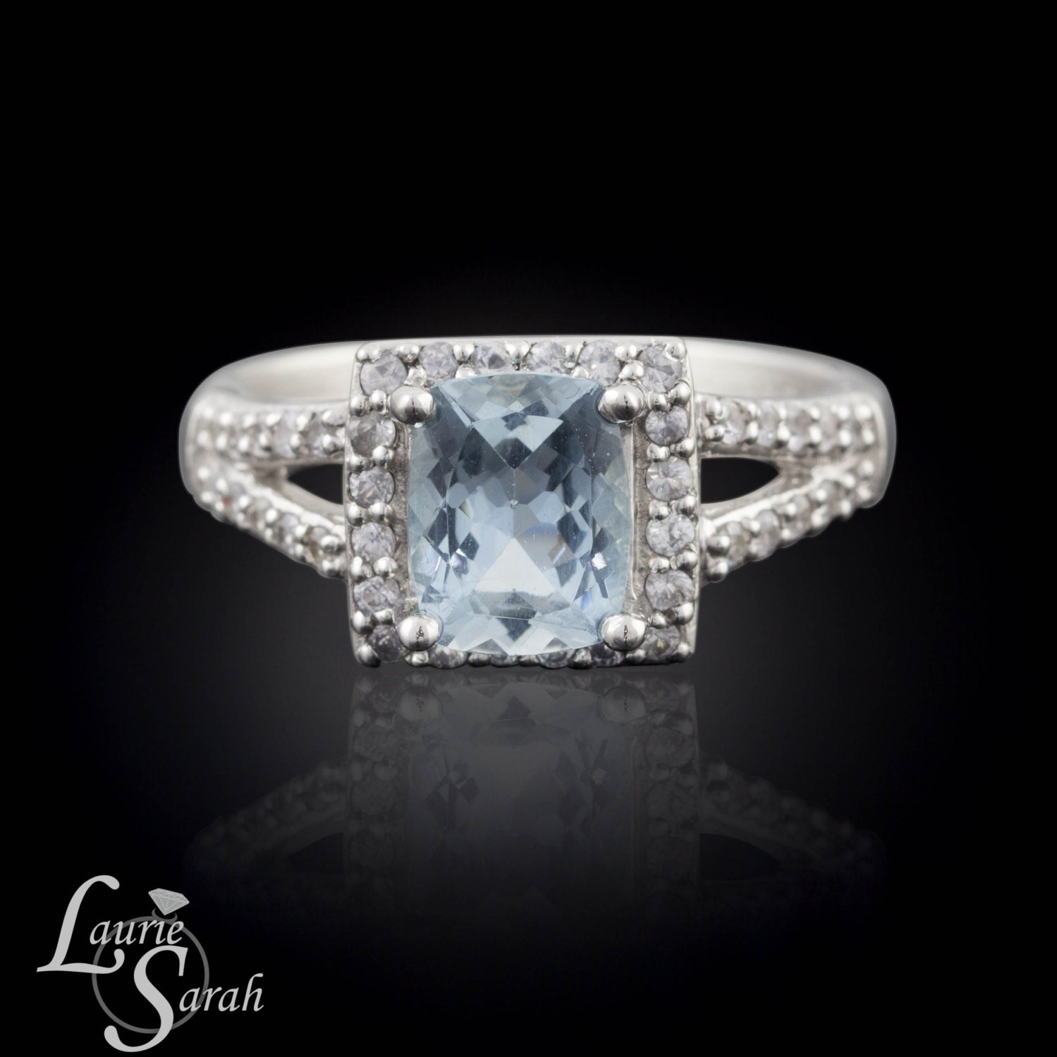 aquamarine engagement ring aquamarine ring diamond halo. Black Bedroom Furniture Sets. Home Design Ideas