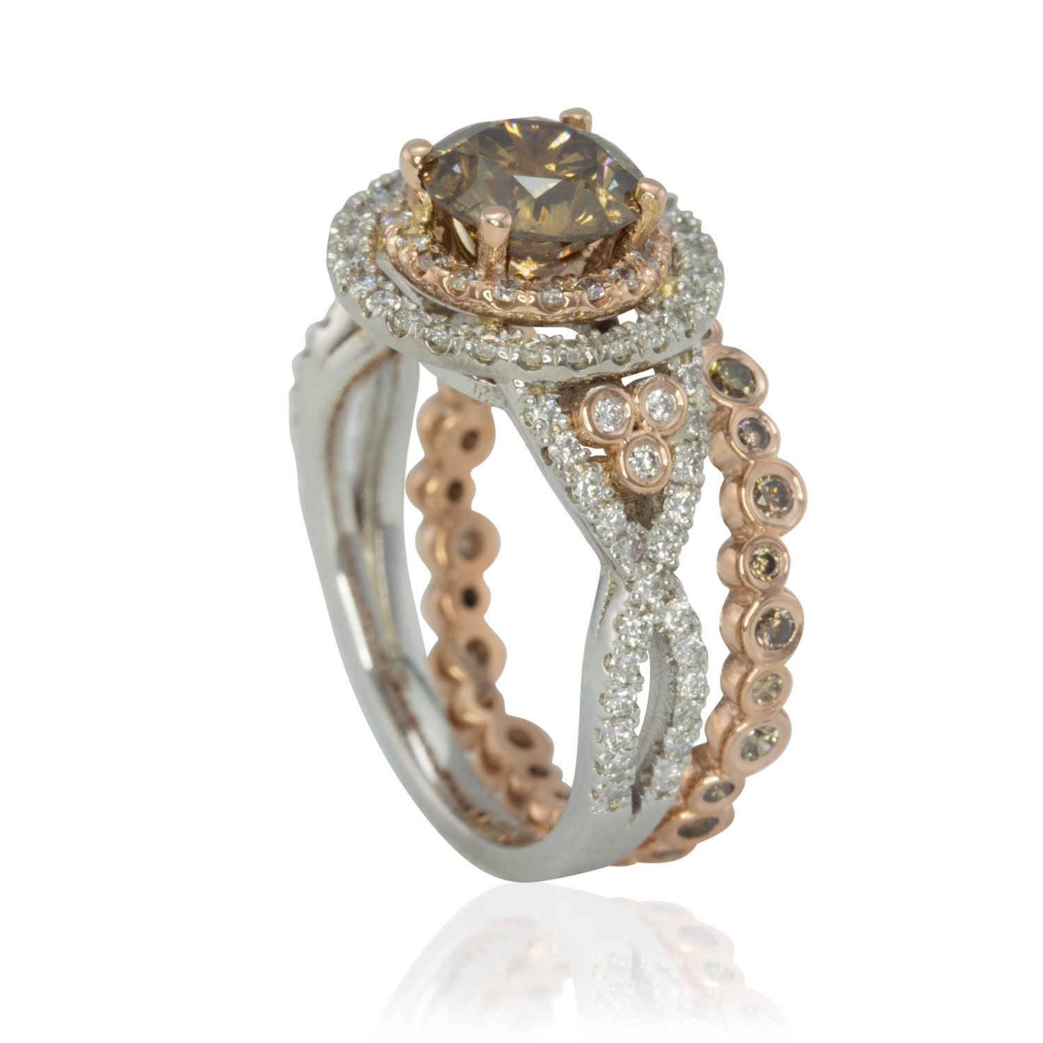 Rose gold engagement ring mocha colored brown diamond wedding for Colored diamond wedding ring