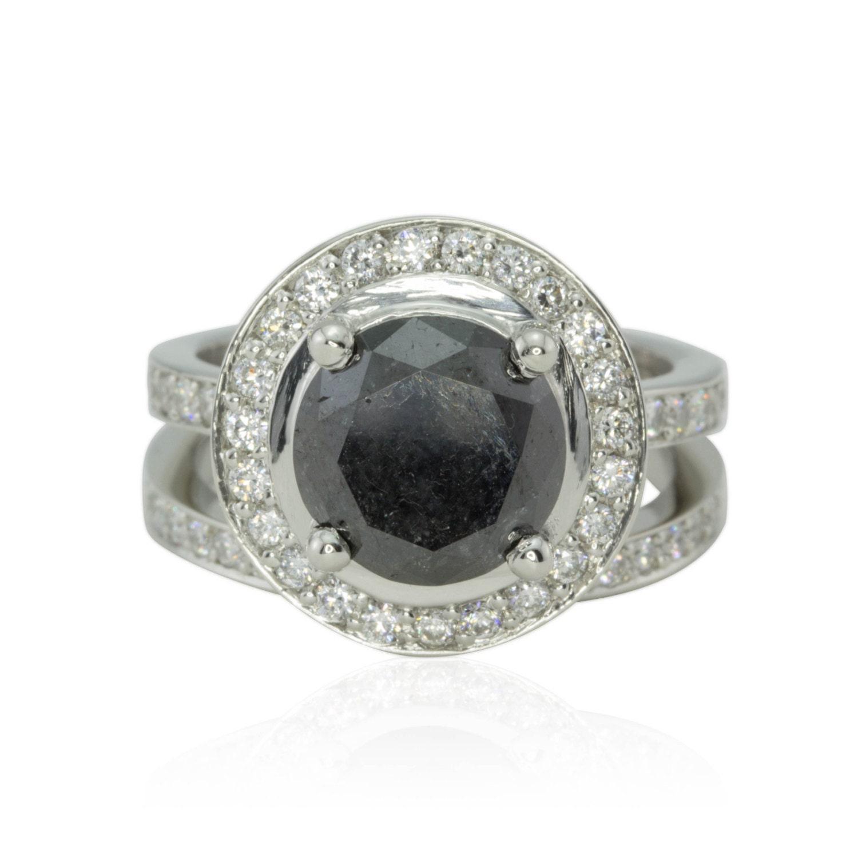 Black Diamond Ring 3 Carat Round Black Diamond Engagement