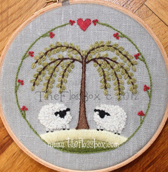 Two Sheep Crewel Embroidery