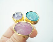 Triple Gold plated Turquoise and Agate ring