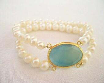 Blue colored Pearl and aquamarine  BRACELET