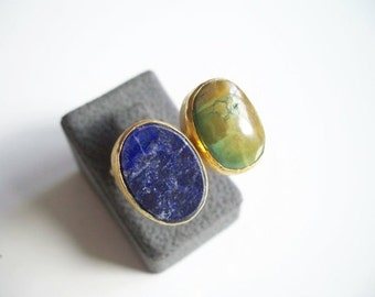 Gold plated  Lapis and Zebercet Dual ring