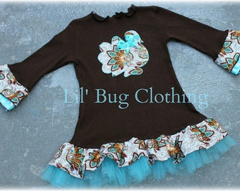 Custom Thanksgiving The Hacking Turkey Cocoa Teal Tulle Comfy Knit Dress
