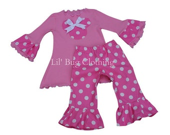 Custom Minnie Mouse Bubble Gum Pink and White Polka Dot Tee And Knit Pant