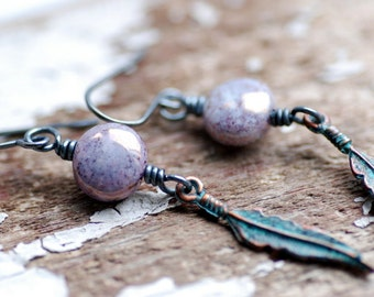 Verdigris Copper Earrings, Bohemian Earrings, Purple Earrings, Copper Earrings, Long Dangle Earrings, Glass Jewelry, Blackened Silver